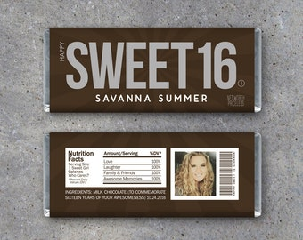 Sweet Sixteen Personalized Candy Bar Wrappers – Printable Hershey Wrappers with PHOTO, Name & personalized text – Use as a gift or gift tag