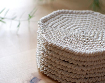 Cotton coasters crochet octagon table doilies - Drink coasters natural table eco  friendly beige white