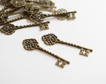 4 Key Charms - Antique Bronze - 69x20mm - Ships IMMEDIATELY from California - BC208