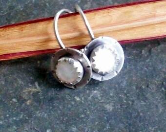 Sterling Silver Jeweled Bud Earrings