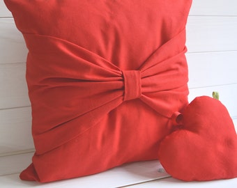 Pillow red bow, Valentine, Valentine's day, pillow, throw pillow