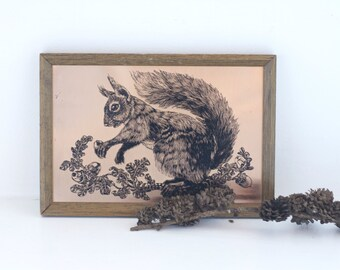 Retro Copper Woodland Squirrel Wall Art