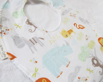 Neutral Baby Boy or Girl Bib - Jungle Babies - Boutique Bib in Designer Cotton Fabric