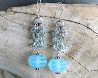 Handmade Etched Glass Lampwork bead and shaggy loops chainmaille earrings - pale aqua