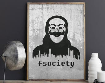 Mr Robot Poster, Fsociety Minimalist Wall Art, Mr Robot Print, Tv Show Wall Decor, Stencil Art, Geek Gift, Minimalist Poster, Geek Decor