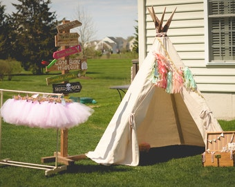 Tee Pee Play Tent!  Made-to-order of a durable natural-tone canvas and rustic real wood. As seen on Hostess with the Mostess!!