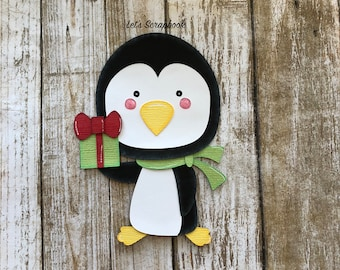 Penguin Die Cut, Christmas Penguin Die Cut, Christmas Die Cut, Paper Piecing, Penguin, Scrapbook, Scrapbook Page, Christmas, Embellishment