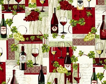 Wine Country Wine Bottle Collage premium cotton fabric from FabriQuilt