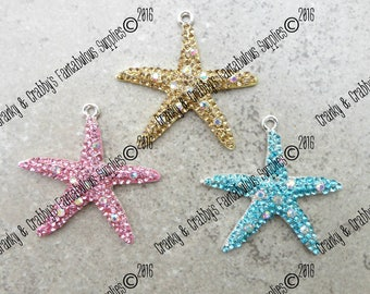 Rhinestone Starfish Pendant  -   Pink, Turquoise or Golden Topaz - Chunky Necklaces - 43mm x 45mm