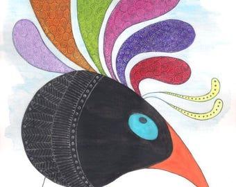 Bird fancy art, bird art, bird watercolor, bird painting, animal wall art, animal art, animal watercolor, birds wall art, birds art, topknot