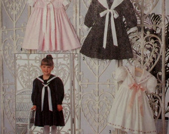 Girls Sailor Dress Pattern, Sailor Collar, Fitted Bodice, Gathered Skirt, Short/Long Sleeves, Simplicity No. 9940 UNCUT Size 2 3 4 5 6 6X