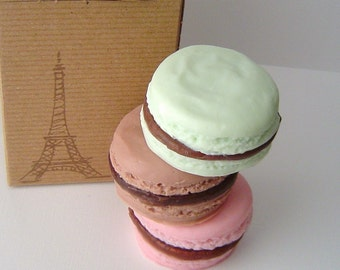 French Macaron Gift Set - Dark Chocolate, Raspberry Chocolate and Mint Chocolate Scented - Goat Milk Soap - Gift - Shaped Soap - fake food