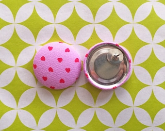 Wholesale Earrings / Fabric Covered Buttons / Valentines Day / Red Hearts / Handmade in USA / Costume Jewellry / Bulk Earrings / Hot Pink