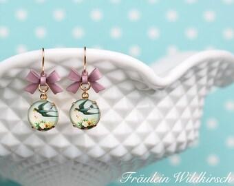 """""""Swallow's luck"""" pierced earrings"""
