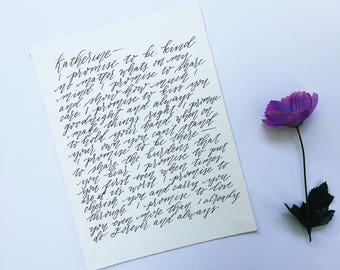 Custom Handwritten Calligraphy Wedding Vows