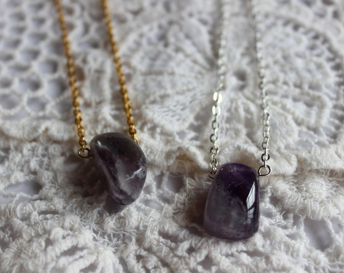 Amethyst stone necklace in gold or silver.