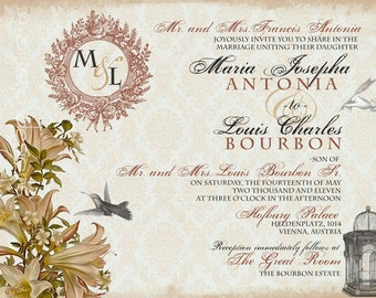 Wedding Invitation and RSVP Sample - Whimsical French Baroque -Maria Collection - as featured on WedLuxe.com