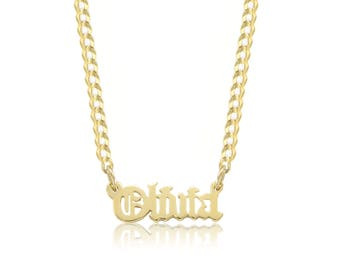 14K Solid Yellow Gold Personalized Custom Old English Name Pendant Cuban Chain Choker Necklace Set - Alphabet Letter Charm