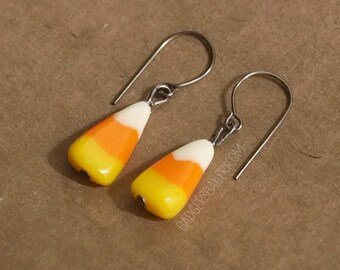 CANDY CORN EARRINGS, Fake Candy Corn Studs or Dangle Earrings, Halloween Jewelry