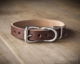 Small Leather Dog Collar (dogs up to 15 lbs.) , Leather Dog Collar, Dog Collar Leather, Small Leather Collar, Girl Dog Collars 075-S