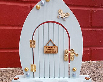 Wooden Freestanding Fairy Door Duck Egg Blue