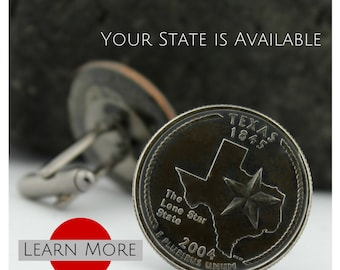 Texas Cuff Links (Cufflinks) - Lone Star Cuff links - Custom State Quarter Cufflinks - Groom Gift