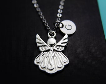 Guardian Angel Necklace Silver Angel Charm Necklace Angel jewelry Personalized Necklace Christmas Holiday Jewelry