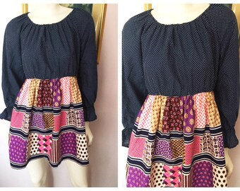 "Vintage 70s Navy Blue Polkadot & Patchwork Print Mini Dress.S/M.Bust up to 38"".Waist up to 32""."