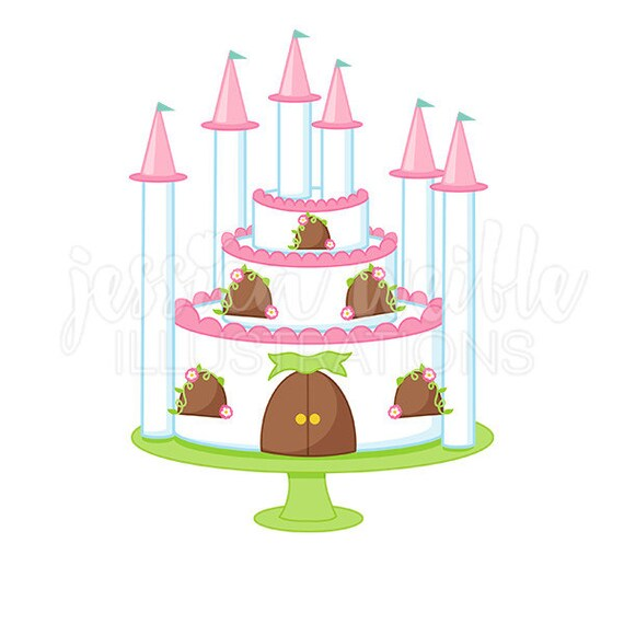 princess castle cake cute digital clipart princess party clip art rh etsystudio com disney princess castle clipart princess castle clipart black and white