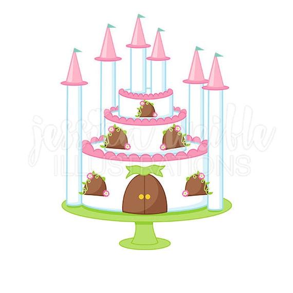 princess castle cake cute digital clipart princess party clip art rh etsystudio com princess castle clipart black and white princess castle clipart black and white