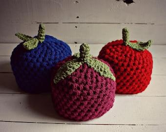 Crochet Spring Baby Fruit Hats, Baby Apple Hat, Baby Blueberry Hat, Baby Grape Hat, Baby Raspberry Hat, Baby Spring Hats, Newborn Hats