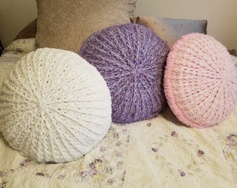 """New Crocheted Pouf Pillows 17"""" in White, Lavender and Pink"""