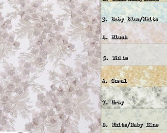 Supreme 3D Voile Flower Lace Mesh Fabric - 9 COLORS - By The Yard Gown Dress Bridal Decor Clothing Accessories Lingerie