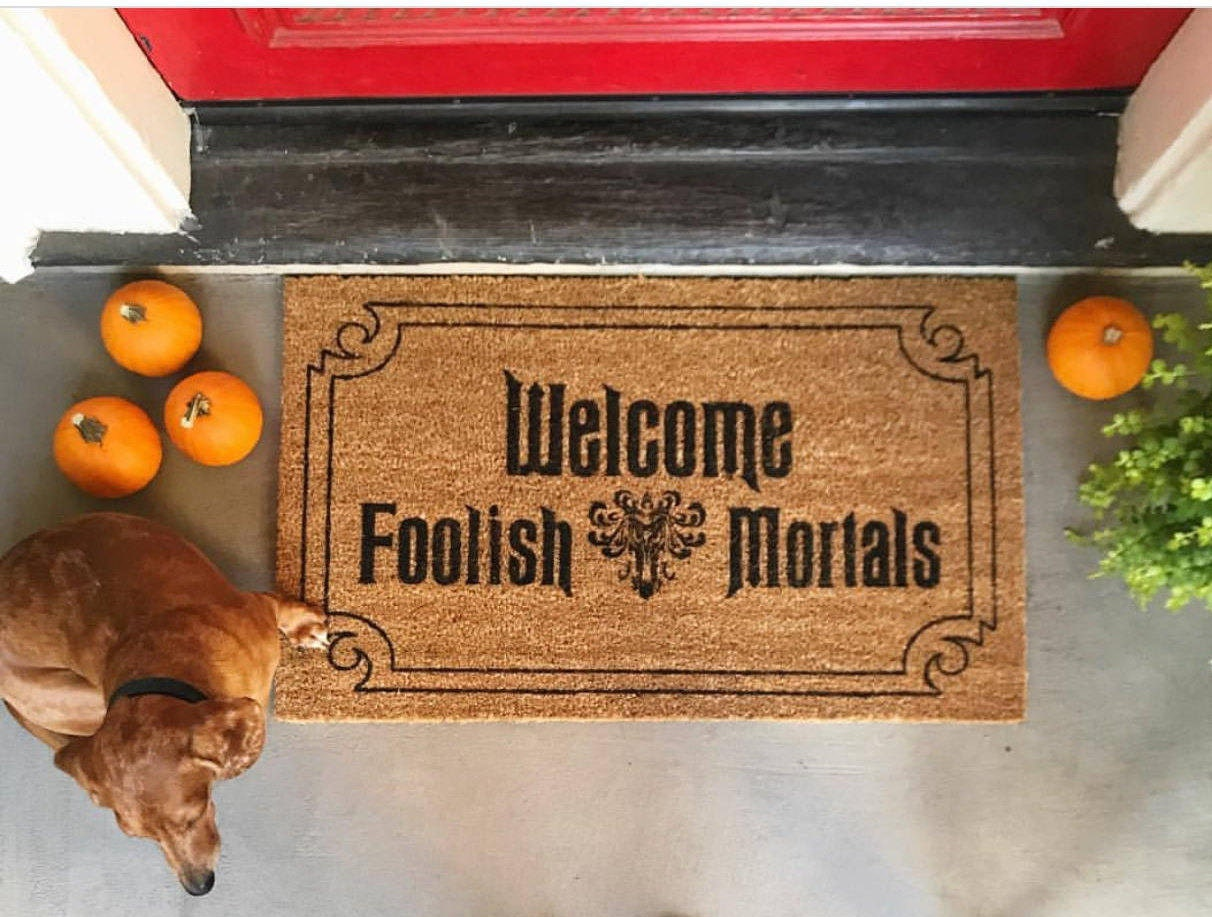 Haunted Mansion Door Mat Welcome Foolish Mortals Disney Door