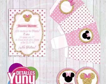 Kit imprimible Mini Mouse Dorada. Editable PSD PPTX. Party Kit Printable Minnie Mouse Gold an Pink