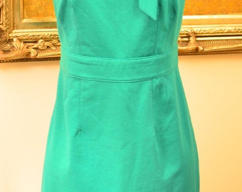 Teal 60's Style Shift Dress with Neck Tie / Secretary Dress / Size 2 / Small