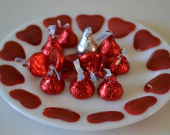 Red Hearts Candy Dish/ Plate
