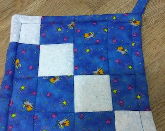 Beautiful blue hand crafted quilted Christmas potholder