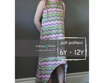 Sporty Maxi Dress pattern and tutorial PDF 6-12y easy sew long tank dress tunic racerback
