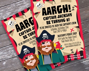 Pirate Invitation - Pirate Birthday Party, Invitation with Editable Text   DIY INSTANT Download PDF Printable