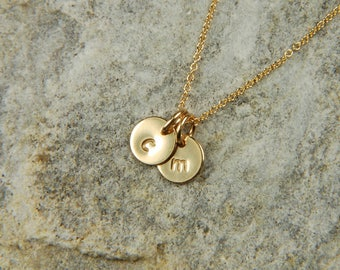 Gold Mommy Necklace 7 mm Personalized Gold Necklace Baby Initial Necklace Gold Personalized Gold Jewelry