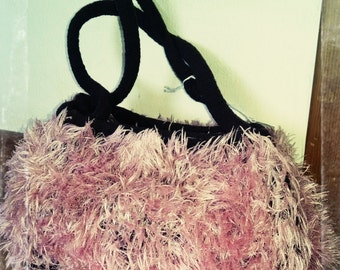 Purse Pink and Brown Knited Felted