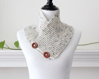 Hand Knit Oatmeal Neckwarmer / Cowl