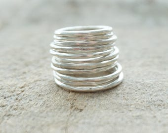 Sterling Silver Hammered Stacker Ring - Sterling Silver Jewelry, Stacking Ring, Stacking Jewelry, Hammered Band, Band Ring, Midi Ring