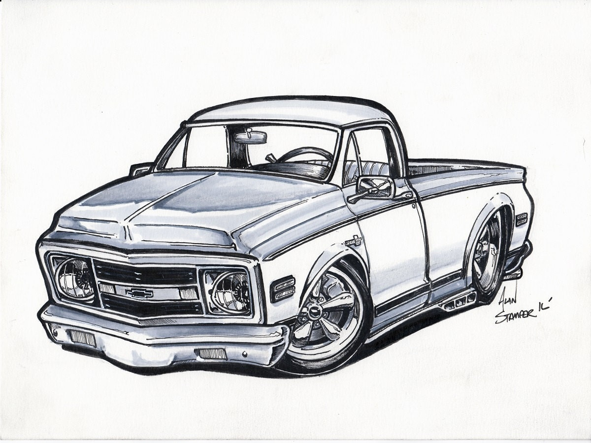 C10 Camioneta dibujo Original enmarañado y bolsas
