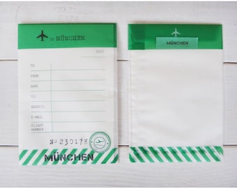Envelpoe Paper Gift Bag - Fly to Munchen-semi transparent-green gift wapping-airplant-travel tag