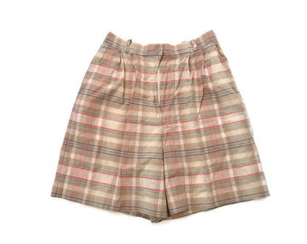 Vintage Plaid High Waist Shorts