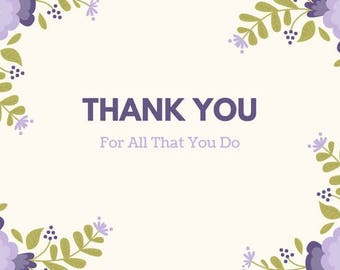 Thank You Card in Purple Floral Design