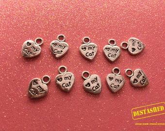 Heart My Cat Tibetan Silver Charm Wholesale Lot 20 Pieces