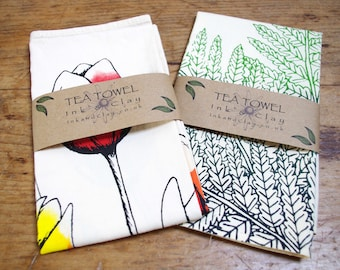 Ferns and Tulips Screen Printed Tea Towels